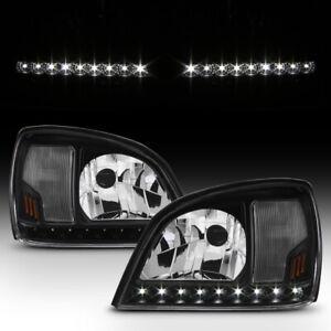 Black 2000-2005 Cadillac Deville LED Strip Headlights Headlamps 00-05 Left+Right