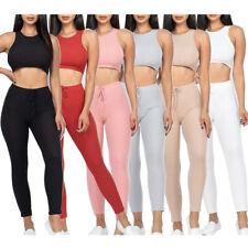 Para Mujer Sujetador Deportivo Crop Top & Leggings de la Alta Cintura Fitness Ejercicio Yoga Set