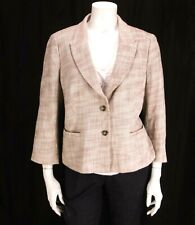 Ann Taylor sz 14 Tan & Beige Tweed Two Button Front Peplum Back Jacket Blazer