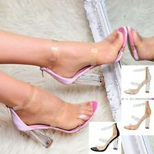 Ladies Clear Block Heeled Sandals Strappy Open toe Perspex Ocassion Shoes Size