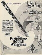 PUBLICITE WATERMAN PORTE PLUME VOYAGE AUTO VELO DE 1927 FRENCH AD PUB ART DECO