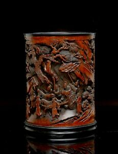 "Superb Chinese Qing Highly Carved ""Return of General Guo Ziyi"" Bamboo Brush Pot"