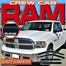 2009-2018 Ram Crew Cab Window Visors Sun Rain Deflectors Door Vent Shade w/ Logo