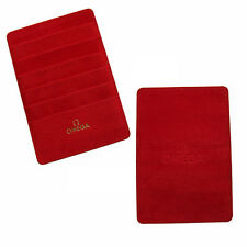 Omega Watch Red Suede Warranty Card Holder Wallet