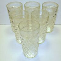 """Vintage Clear Glass Tumblers Drinking Glasses Diamond Pattern 6"""" Tall Set of 6"""