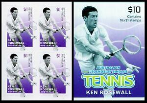 2016 Australian Legends of Tennis - Ken Rosewall Booklet Block of 4 Stamps