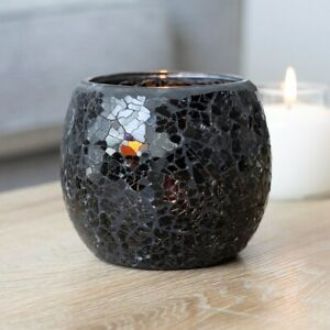 NEW - Beautiful & Homely Large Round Glass Black Crackle Tealight Candle Holder