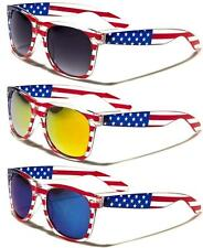 3 Pair USA American Flag clear frame Fire / Blue Mirror lens sunglasses classic