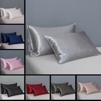 2pcs Luxury Silky Satin Pillow Case Smooth Soft Pillow Cover Bedding Queen/King