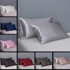 1 Pair Silk Satin Pillow Case Smooth Soft Pillow Cover Bedding Queen/KING Size
