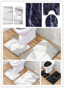 3Pcs/Set Marble Pattern Bathroom Pedestal Rug Lid Toilet Cover Bath Mat Non-Slip