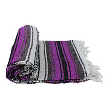 Genuine Mexican Falsa western blanket in a magenta & grey theme throw mat yoga r