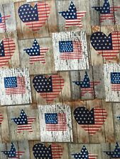 Distressed Patriotic Red White & Blue Cotton Fabric. Sold BTHY