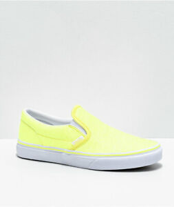Vans Classic Slip on (Neon Glitter) Yellow Size 5 J Kids Youth 326857 ~ NEW 🔥