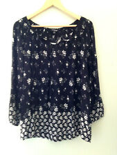 NWT Lucky Brand Black White Floral Bohemian Relaxed Knit Long Sleeve Top M $99