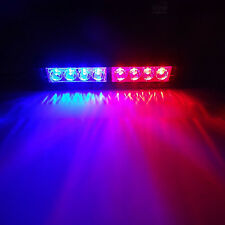 AU 8 LED Red/Blue Car Police Strobe Warning Flashing Lights Dash Emergency Lamp
