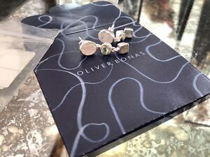 New Silver Drop 3 Stone Earings By Oliver Bonas