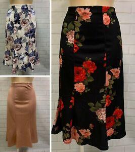 Beautiful Fishtail Panel Godet Midi Length Stretch Skirt Size 10 - 20