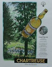 PUBLICITE LA GRANDE CHARTREUSE REINE DES LIQUEURS ABBAYE MOINE DE 1953 FRENCH AD