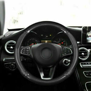 Fits 38cm Carbon Fiber Leather Steering Wheel Cover Non-slip Cover Universal Car