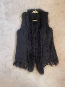Basler real fur gilet in black Size 12  Asiatic Racoon super silky soft & warm