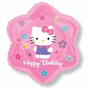 "15"" Hello Kitty Happy Birthday Jr Shape Mylar Foil Balloon Party Decoration"