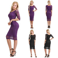 Elegant Womens Flare Retro Lace Bodycon Party Evening Cocktail Midi Pencil Dress