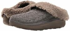 FitFlop Loaff Quilted Slip-Resistant Snug Mule Slippers Shearling CHARCOAL 5M