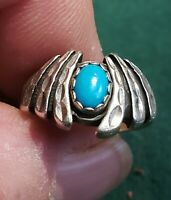Turquoise Ring by WM, Art Deco Design Sterling Silver .925 Caribbean Blue