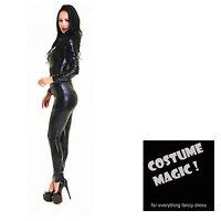 Black Shiny PVC CATSUIT Catwoman Ladies Fancy Dress COSTUME 10 12 14 16 18 20