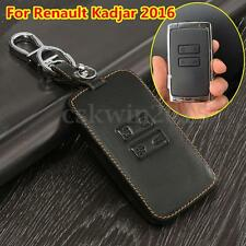 Car Leather Key Holder Remote Cover Black Case For Renault Kadjar 2016 Keychain