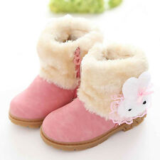 Winter Child Kids Baby Girls Warm Leather Snow Boots Fur Shoes Sneakers 1-6Y UK