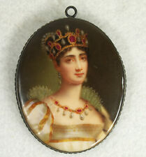 Antique Porcelain Hand Painted Miniature Plaque/Brooch of Empress Josephine