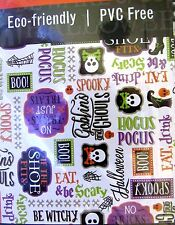 Halloween Tablecloth Skulls Spooky Words Vinyl With Polyester Back 52 X 70 inch