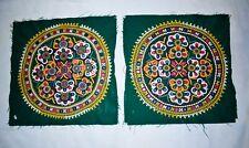 Indien Handmade Vert Floral Rond Patchs Rabari Brodé Vintage Décor Maison