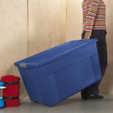 Sterilite 45 Gallon Wheeled Latch Tote Blue Case of 4 Plastic Storage Container