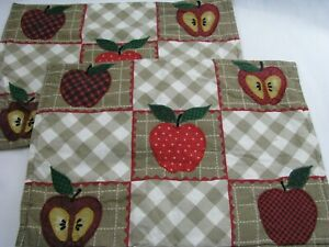 2 Fabric Fall Apples Autumn Placemats Country Appliqued Tan Plaid Harvest