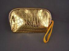 "Gold faux leather gator print coin change zipper purse zip top 5.75"" wide"