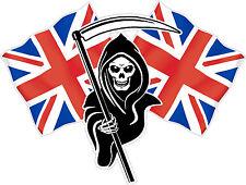 Racing Grim Reaper Skull Union Jack Flag Car Sticker LSGUJ#1