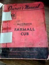 McCormick Farmall Cub Tractor Owners Operators Manual