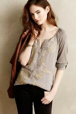Anthropologie Tiny Brand Lore Embroidered Boho Henley Top Shirt M Gray Orig. $99