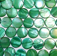 MP1575L Green 30mm Flat Round Coin Mother of Pearl Gemstone Shell Beads 16""