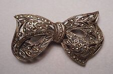 Vintage Art Deco Style Bow Knot Brooch - Sterling 925 Leafy Filigree & Marcasite