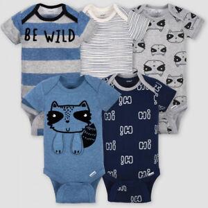Gerber Baby Boys 5-Pack 100% Cotton Onesies Bodysuits - NEW
