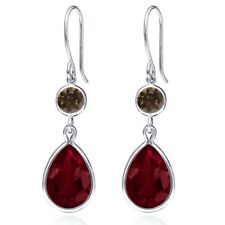 13.22 Ct Red Created Ruby Brown Smoky Quartz 925 Sterling Silver Earrings