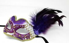 PURPLE AND GOLD FEATHER MASK VENETIAN MASQUERADE BALL CARNIVAL PARTY EYE MASK