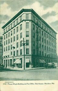 Postcard Miazza Woods Building & Post Office, Meridian, Mississippi - used 1908