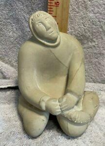 RARE Vintage Eskimo Inuit Sculpture SoapStone Signed