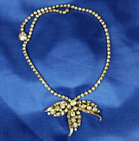 Beautiful Vintage 1960s Silver Tone Clear Rhinestone Coctail Necklace Sparkly