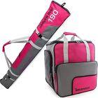 Dark Pink Grey Ski Bag Combo for Ski Poles, Boots and Helmet - Limited Edition -